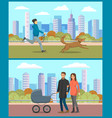 parents with pram man with dog in urban park vector image