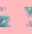 pastel pink frame with blue tropical leaves vector image vector image
