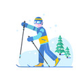 people skiing flat style design skis isolated vector image vector image