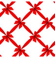 red ribbon and bow grid seamless pattern vector image