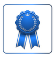 Ribbon award icon blue vector image vector image