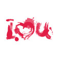 romantic watercolor lettering i love you red on vector image vector image