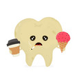 sad sick dirty unhealthy tooth vector image