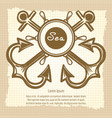 sea emblem with handwheel and anchors vector image vector image