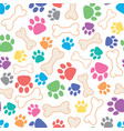 seamless dog pattern with bone and dogs footprint vector image