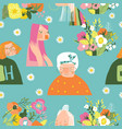 seamless pattern with beautiful women with flowers vector image