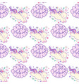 seamless pattern with unicorns lettering party vector image vector image