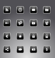 set black icons with silver outline vector image vector image