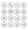 set round line icons of camping vector image vector image