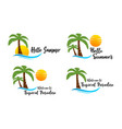 set summer beach logo vector image vector image