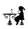 silhouette girl is drinking milk vector image vector image