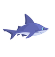 smiling cartoon shark on a white background vector image vector image