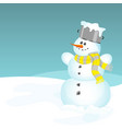 snowman with a yellow and grey scarf vector image vector image