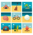 Summer flat icons set vector image vector image