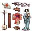 symbols of japan and japanese culture icons vector image vector image