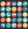 tools icons set on color circles black background vector image