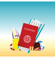 travel summer with passport vector image vector image