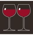 two glasses red wine vector image vector image
