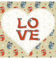 Valentine love card with cute romantic owls vector image vector image