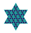 blue and gold jewish star with pattern vector image