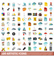 100 artistic icons set flat style vector image vector image