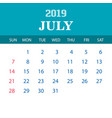 2019 calendar template - july vector image vector image