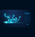 abstract baseball player low poly neon wire vector image vector image