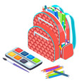 backpack with notebook and pen school vector image vector image
