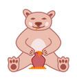 brown bear eats honey from pot cute vector image