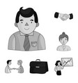 business conference and negotiations monochrome vector image vector image