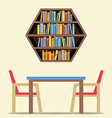Chairs And Table With Hexagon Bookshelf On Wall vector image vector image