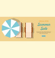 chaise lounge and umbrella summer sale web banner vector image