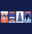 christmas market cards holiday poster new year vector image vector image