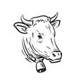 cow with bell sketch farm animal vector image