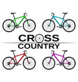 cross-country bikes in different colors vector image