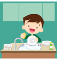 cute boy Dish washing vector image