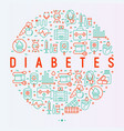 diabetes concept in circle with thin line icons vector image vector image