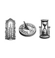 different types antique clocks vector image vector image