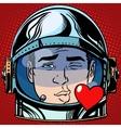 emoticon kiss love Emoji face man astronaut retro vector image vector image