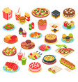 fast food isometric set vector image vector image