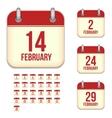 February calendar icons vector image