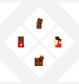 flat icon bitter set of wrapper chocolate cocoa vector image vector image