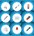 flat icon tool set of nib pen letter clippers vector image vector image