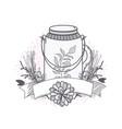 flowers in mason jar drawing design vector image vector image