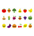 fruit berry vegetable mustache face icon set pear vector image vector image