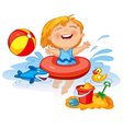 Funny little girl swims in a sea in an red life vector image vector image