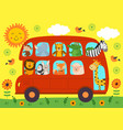 funny london bus with animals vector image vector image