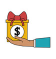 gift box with money icon image vector image vector image