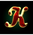 Golden and red letter k vector image