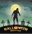 halloween spooky mummy in a night graveyard vector image